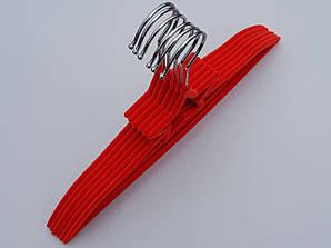 Плечики детские флокированные (бархатные) красного цвета, 33 см, 6 штук в упаковке