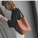Сумка шоппер жіноча з ланцюгом (руда), фото 4