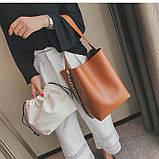 Сумка шоппер жіноча з ланцюгом (руда), фото 5