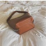 Сумка шоппер жіноча з ланцюгом (руда), фото 9