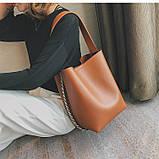 Сумка шоппер жіноча з ланцюгом (руда), фото 2