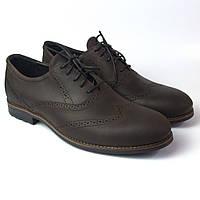 Туфлі чоловічі коричневі броги шкіряні демісезонне взуття Rosso Avangard Felicite Brown Crazy Leather