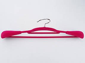 Плечики вешалки тремпеля флокированные (бархатные, велюровые)  малинового цвета, длина 42 см, фото 2