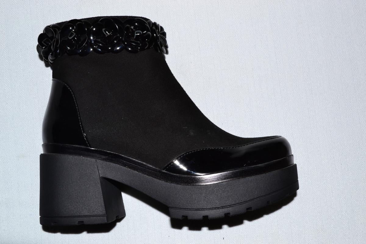 de945315c Ботинки замшевые женские черные Турция весна-осень - Интернет-магазин