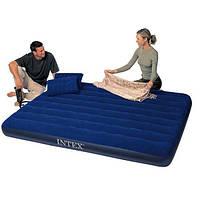 Надувной матрас Intex двухместный + 2 подушки и насос (68765)
