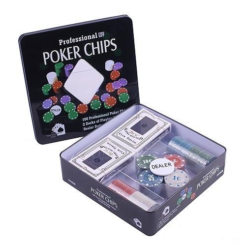 Набор для игры в покер 100 фишек +2 колоды карт
