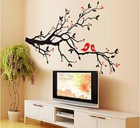 Самоклеющаяся  наклейка  на стену  Дерево с птичками (85х60см)