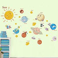 """Наклейка в детскую, на шкаф, в детский сад """"Солнце и планеты"""" 70*100см (лист 30см*90см)"""