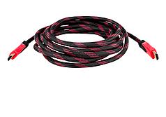 Кабель HDMI -  HDMI в обмотке 3м Черный с красным (np2_0700)