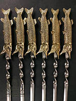 """Набор шампуров ручной работы с бронзовыми ручками """"Царский улов"""" в кожаном колчане"""