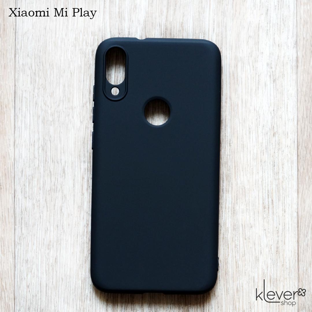 Оригинальный силиконовый чехол My Colors для Xiaomi Mi Play (черный) (микрофибра внутри)