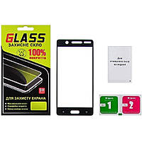 Защитное стекло на весь экран с чёрной рамкой для Nokia 5 (Full Glue)
