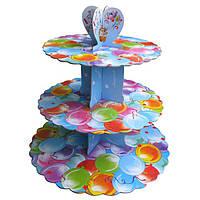 Стенд трёхъярусный картонный круглый для капкейков разноцветные шарики