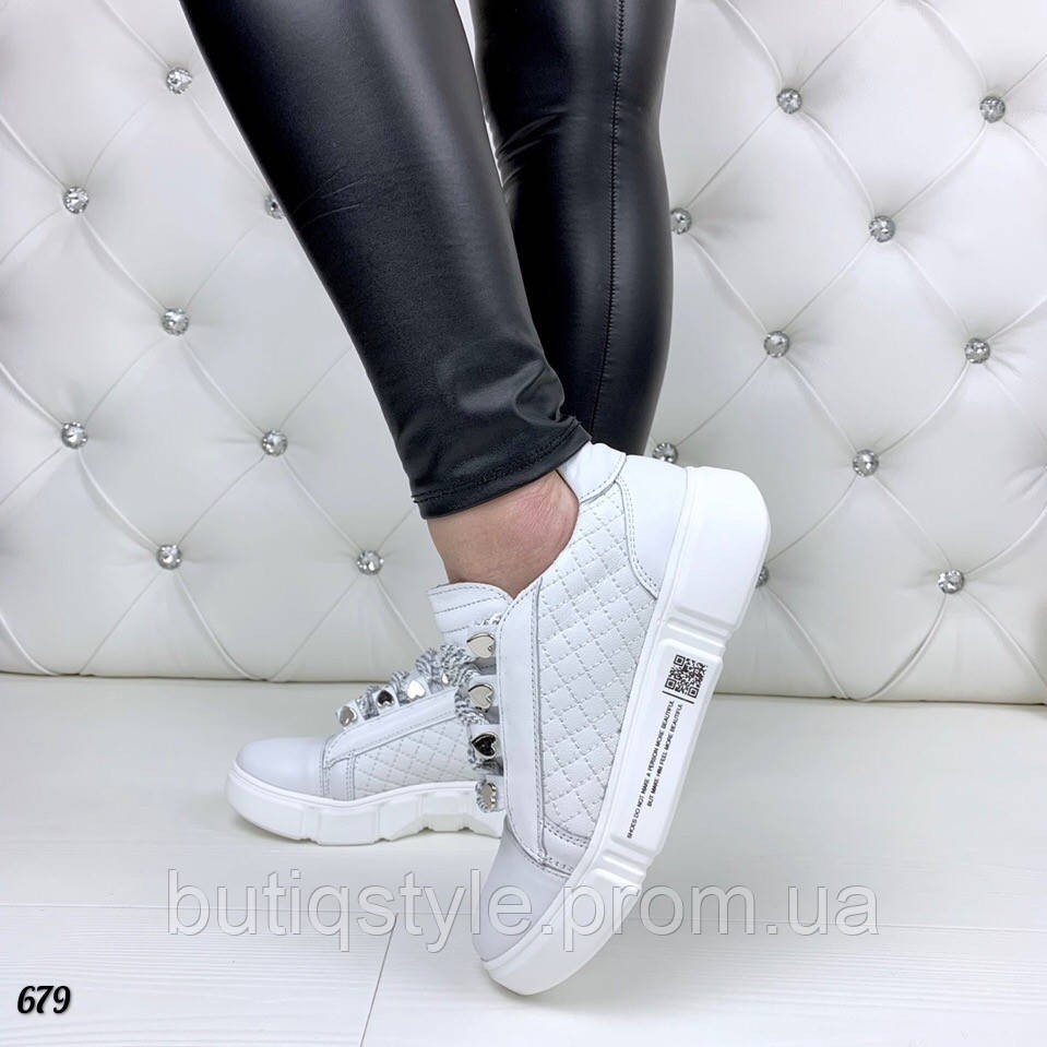 Кеды белые женские натуральная кожа - качество Lux