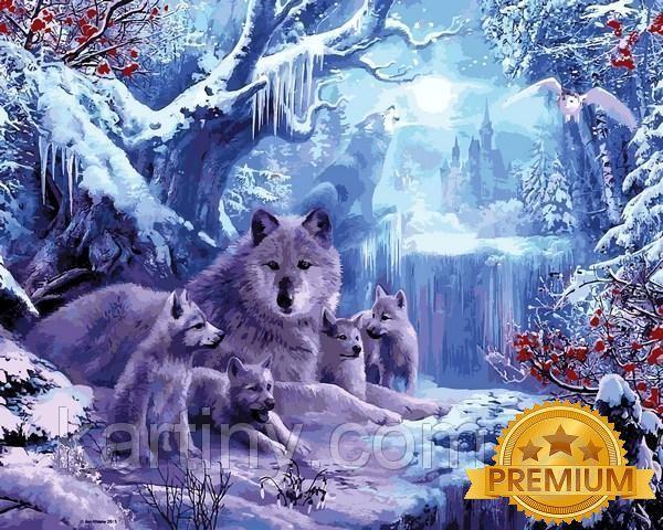 Набор для рисования 40×50 см. Babylon Premium Замерзший водопад Художник Ян Патрик Красный