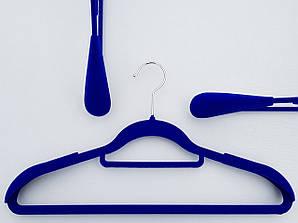 Длина 42 см. Плечики флокированные (бархатные) широкие с перекладиной синего цвета