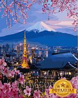Рисование по номерам 40×50 см. Babylon Premium Йокогама и гора Фудзияма
