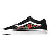 Женские кеды Vans Old Skool Red Roses черные с белым р.37 Акция -46%!