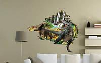 Интерьерная наклейка  Динозавры 3D (100х90см)