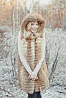 Жилет  из лисы с капюшоном, фото 1