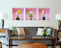 Интерьерная наклейка - Вазы с цветами (90х60см)
