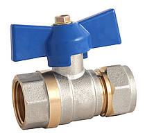 Кран шаровый под обжим для металлопластиковой трубы ф.20х3/4 В Eco