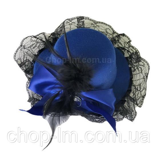 Шляпка с рюшами синяя
