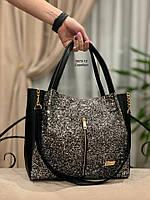 Женская сумка глиттер и кож.зам, фото 3