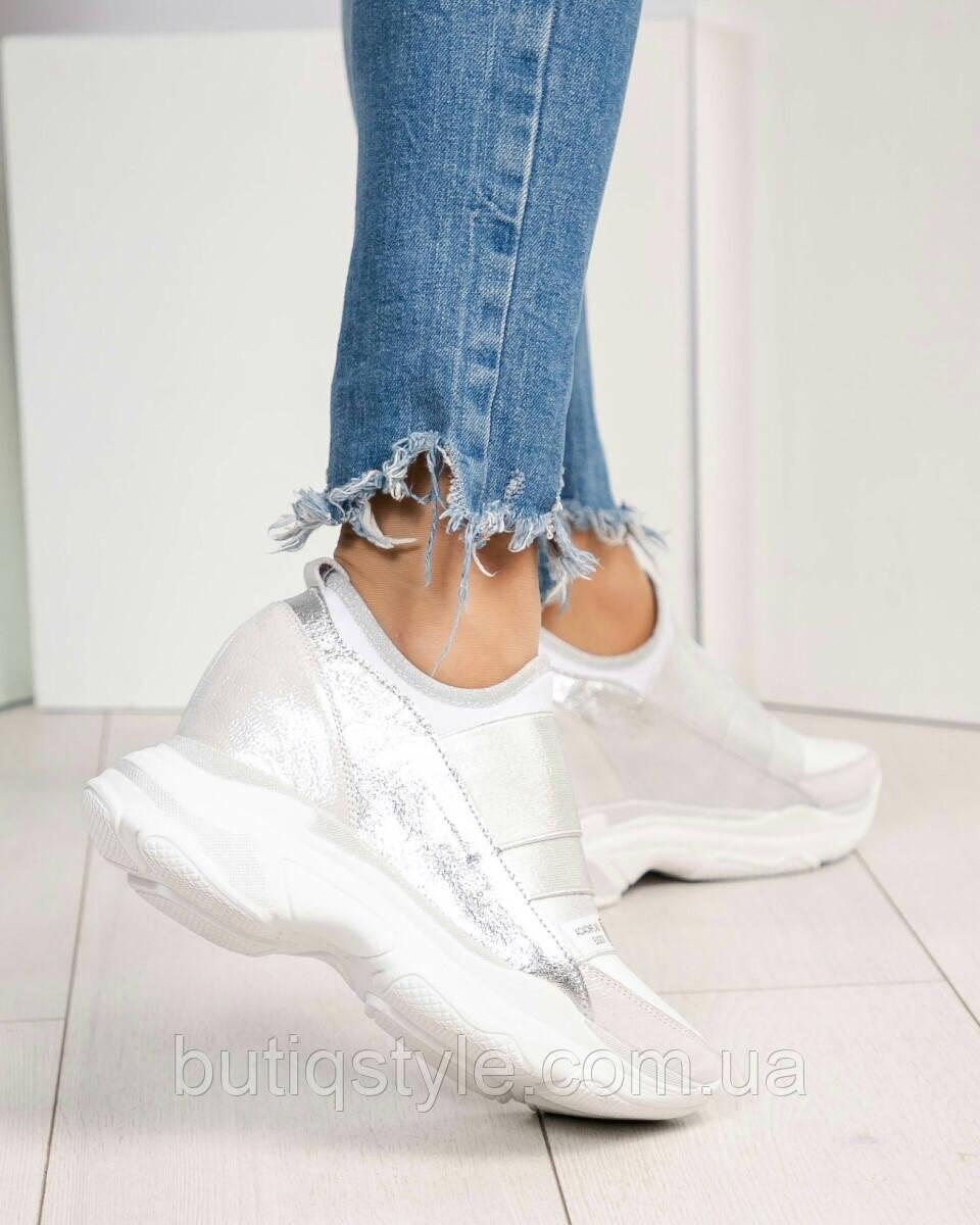 Кроссовки женские серебро на липучках натуральная кожа тренд 2019