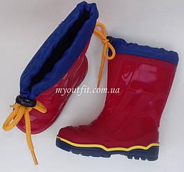 Детские утеплённые резиновые сапоги Красные