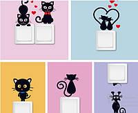 Интерьерная наклейка на выключатель - котики