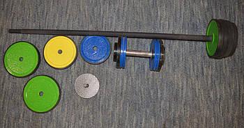 Штанга обрезиненная бу, 44 кг + гантель б/у