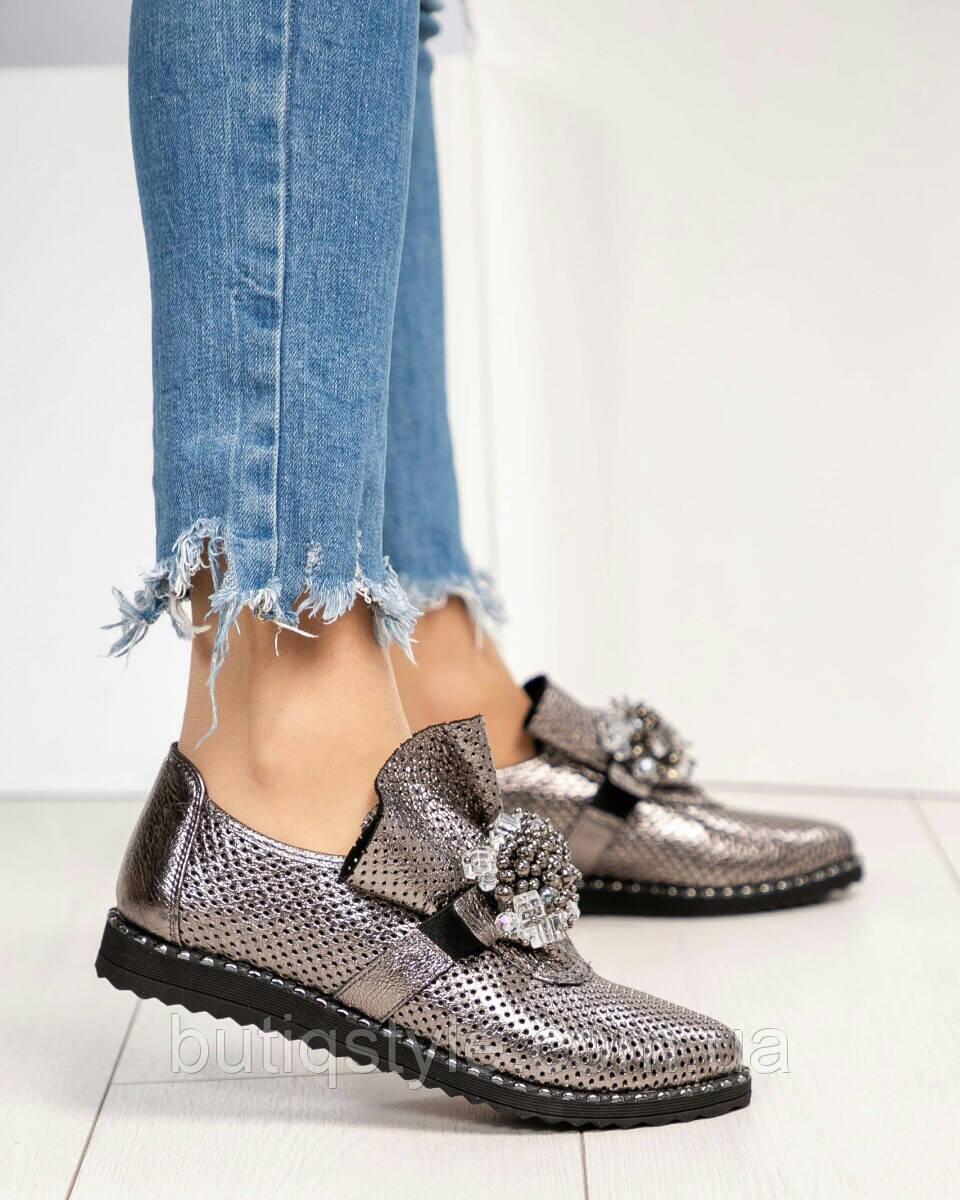 Красивые женские туфли кожа с перфорацией никель на низком ходу