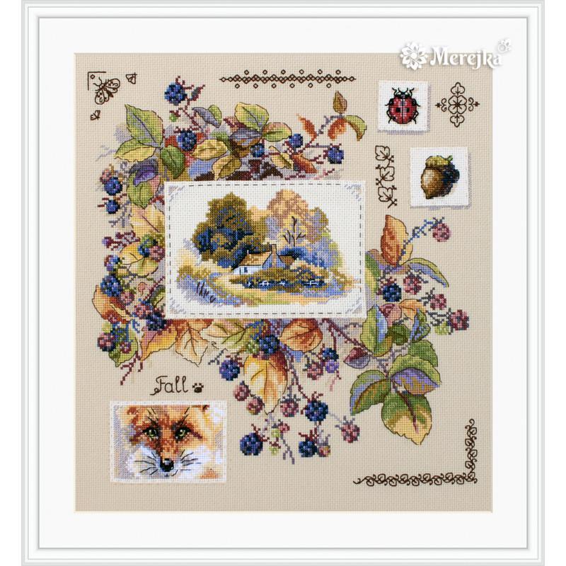 Набор для вышивания крестом Осенний семплер Мережка