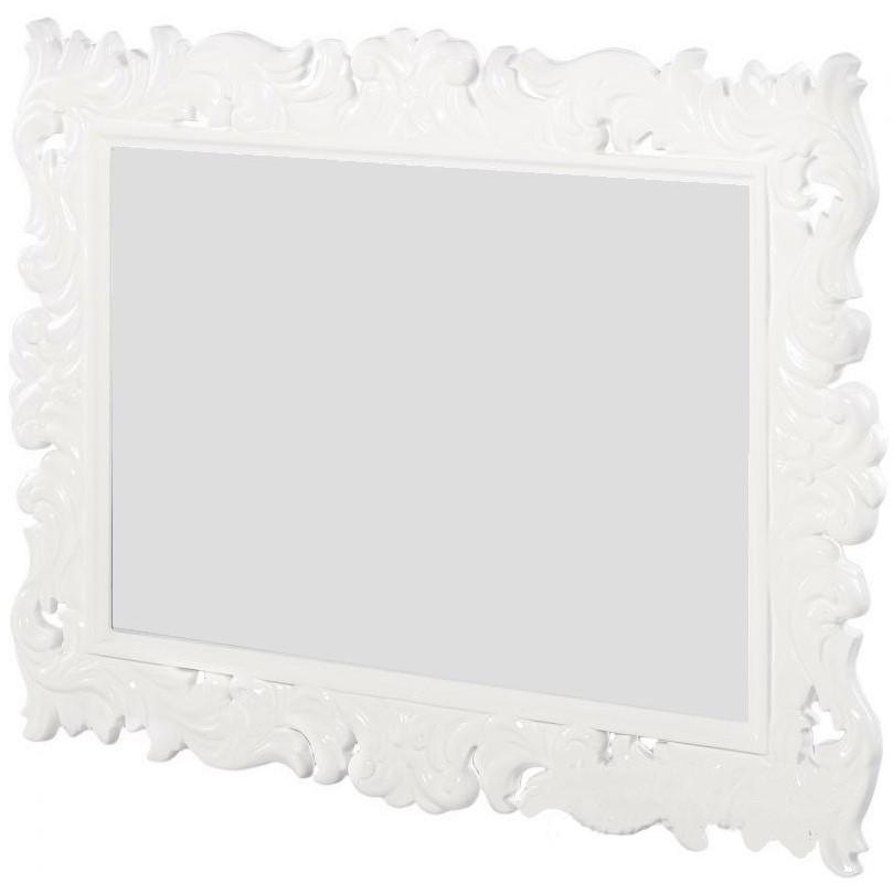 Зеркало навесное Прямоугольное в декоративной белой раме ТМ Embawood