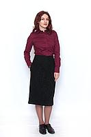 Блуза женская бордовая рубашечного кроя, на пуговицах , с длинным рукавом.735-09 DANA