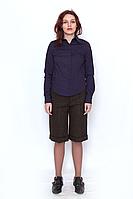 Блуза женская фиолетовая рубашечного кроя, на пуговицах , с длинным рукавом,735-09 DANA