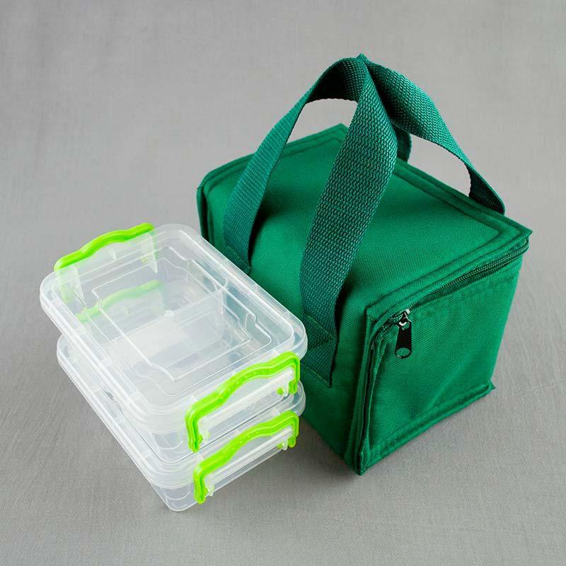 Термосумка зеленая + контейнеры  для еды 2шт х 0,5л