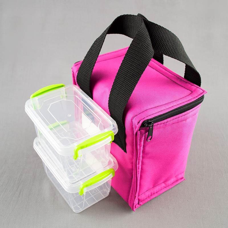 Термосумка розовая вертикал + контейнеры  для еды 2шт х 0,45л