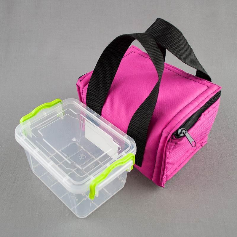 Термосумка розовая + контейнер  для еды 0,8л