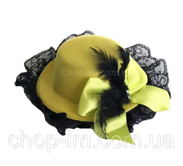 Шляпка с рюшами желтая