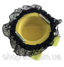 Шляпка с рюшами желтая, фото 3