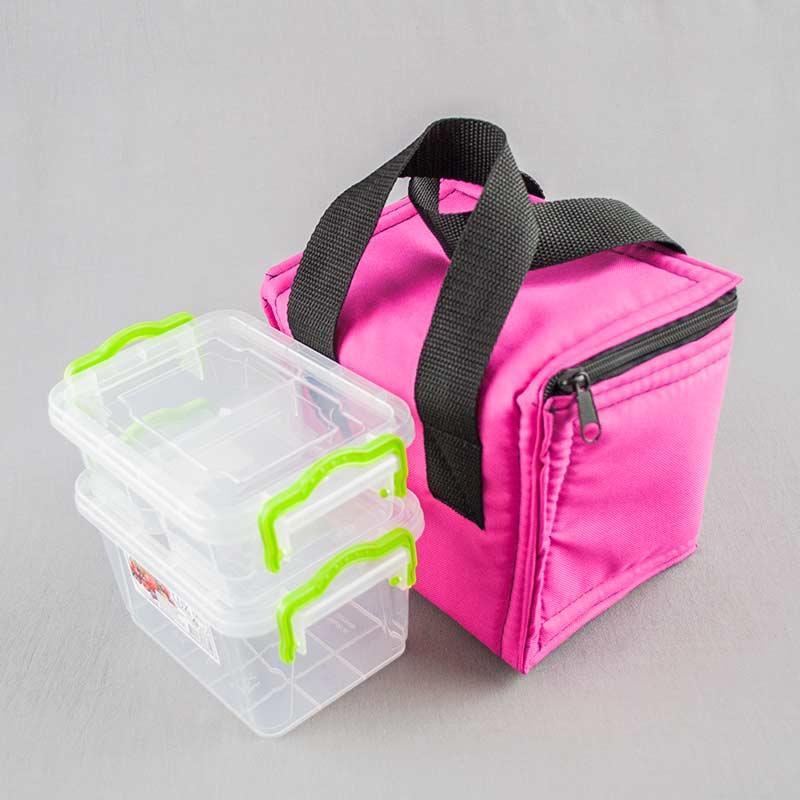 Термосумка розовая + контейнеры  для еды 0,8 и 0,5 л