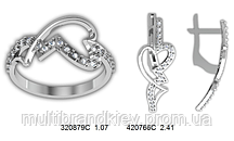 Серебряное кольцо с сережками