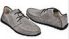 Мокасины мужские серые из натурального нубука с перфорацией