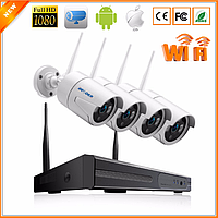 Комплект Wi-Fi IP 4 камеры 720P 1MP видео наблюдения ONVIFс регистратором, фото 1