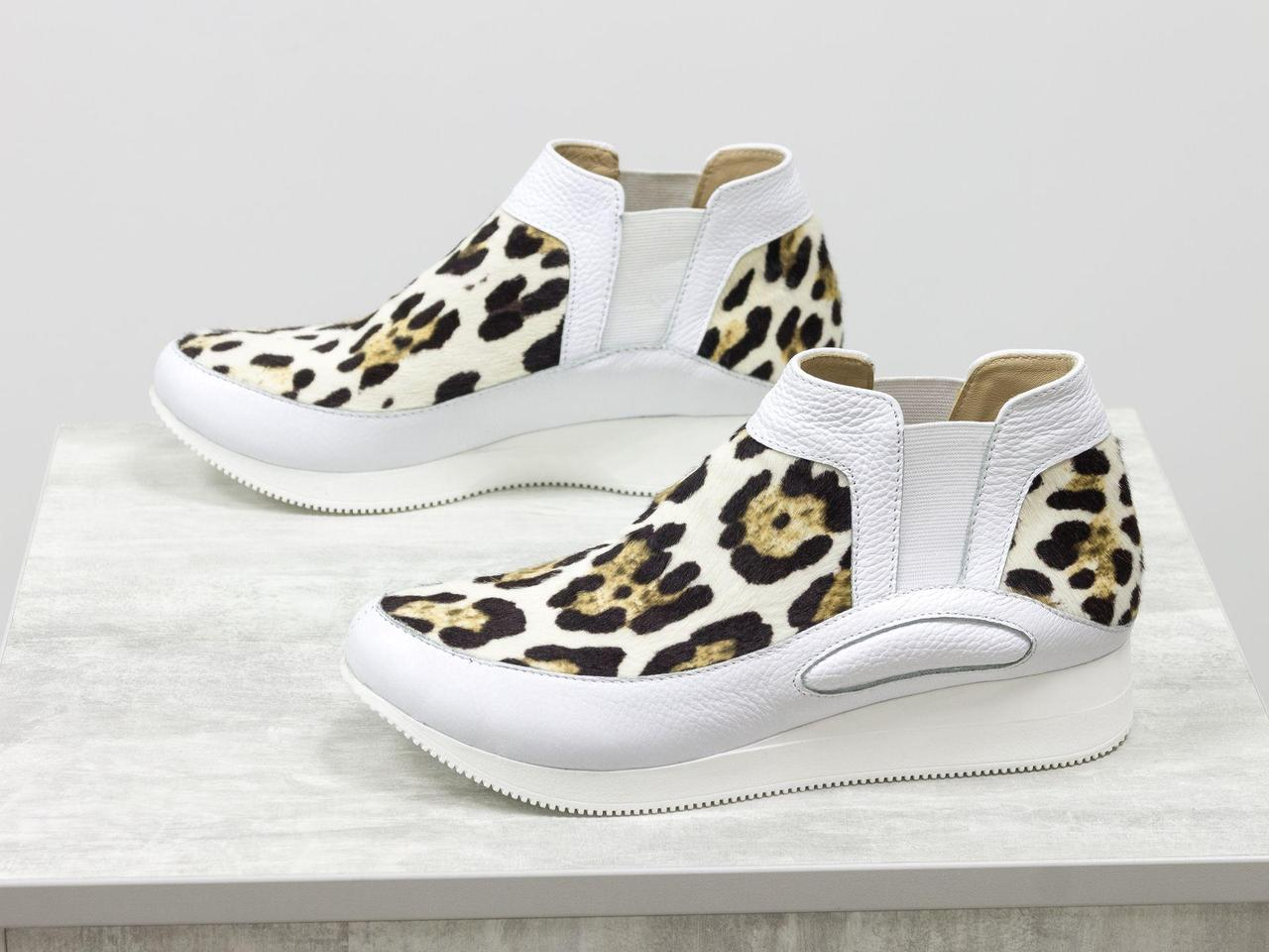 """Дизайнерські кеди з натуральної шкіри білого кольору в комбінації з хутром поні """"леопард""""36-41"""