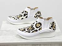 """Дизайнерські кеди з натуральної шкіри білого кольору в комбінації з хутром поні """"леопард""""36-41, фото 1"""