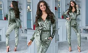 Женский велюровый комбинезон с карманами и поясом , фото 2