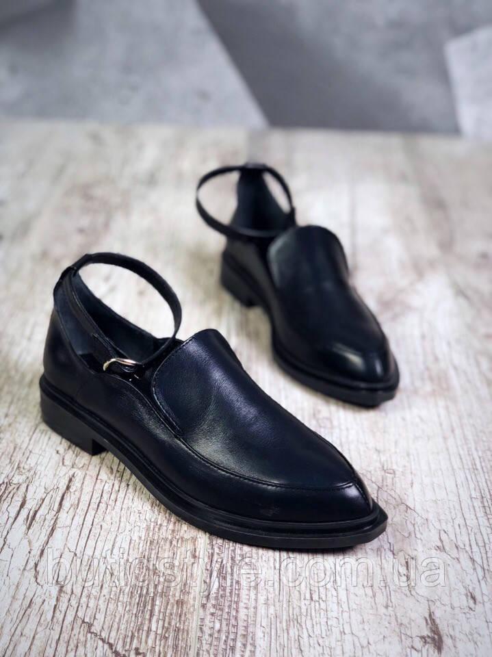 Красивые женские черные туфли с ремешком  Amber натуральная кожа на низком ходу